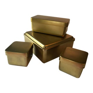 Modern Brass Nesting Boxes - Set of 4 For Sale