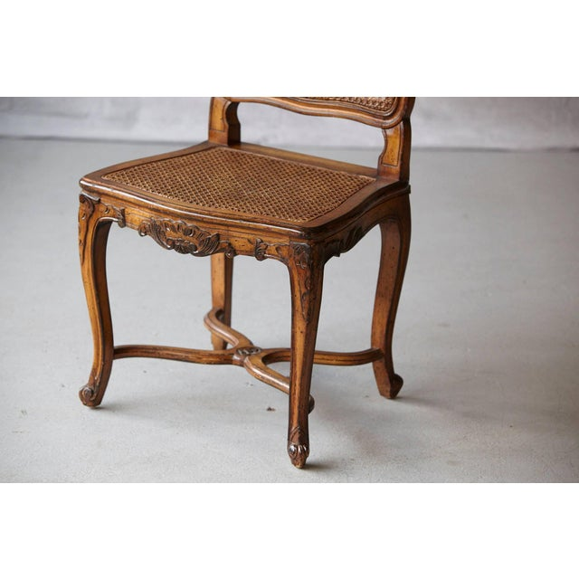 Late 19th Century 19th Century Louis XV Style Caned High Back Wood Chaise For Sale - Image 5 of 11
