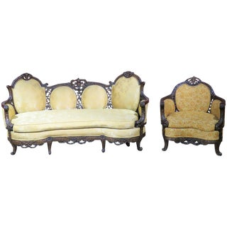 Antique Walnut Carved Sofa & Bergere - A Pair
