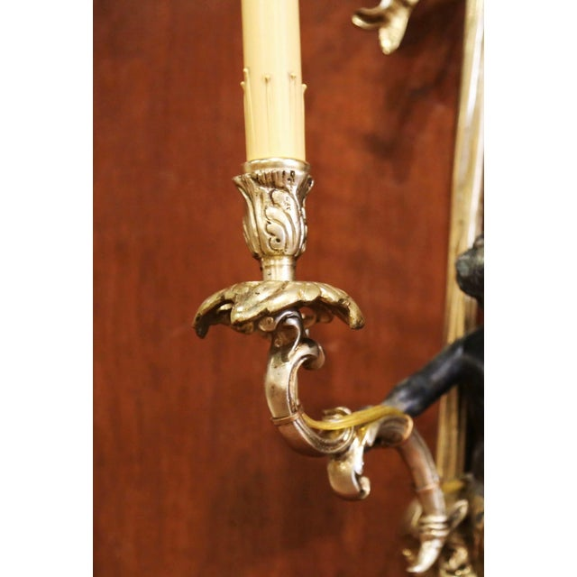 Metal Mid-19th Century French Louis XVI Bronze Dore Wall Sconces With Cherubs - a Pair For Sale - Image 7 of 13