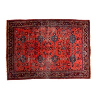 "Distressed Vintage Mahal Carpet - 8'4"" x 11'7"" For Sale"