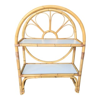 Vintage Mid-Century Modern Bent Bamboo Etagere Shelf For Sale