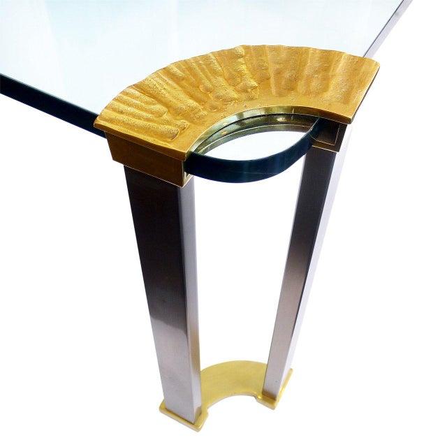 Italian Italian Modernist Glass & Bronze Coffee Table For Sale - Image 3 of 5
