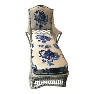 Vintage Blue & White Cushioned Wicker Lounge