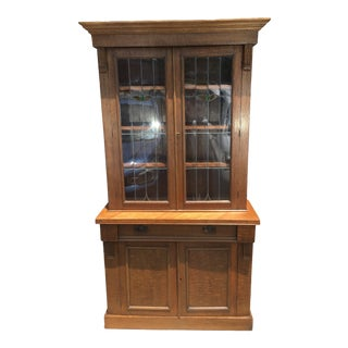 20th Century Arts and Crafts Leaded Glass Oak Cabinet For Sale