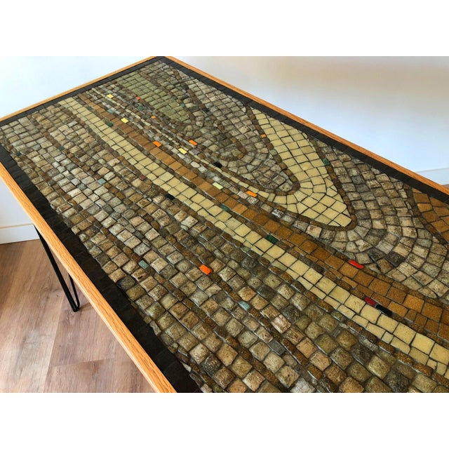 Vintage Wood Framed Tile Mosaic Sofa Table With Hairpin Legs For Sale In Seattle - Image 6 of 13