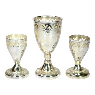 Vintage Silver Plated Kiddush Cups - Set of 3 For Sale