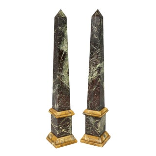 Italian Antico Verde and Siena Marble Obelisks - a Pair For Sale