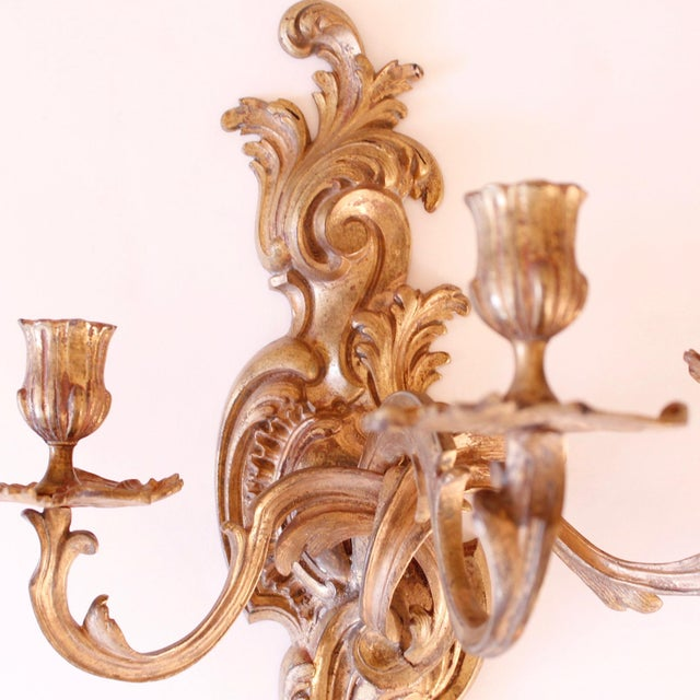 Metal Late 19th Century Fine French Rococo Gilt Bronze Three Light Sconces - a Pair For Sale - Image 7 of 11
