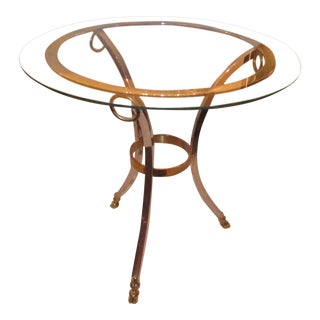 Labarge Chrome, Brass and Glass Accent Side Table
