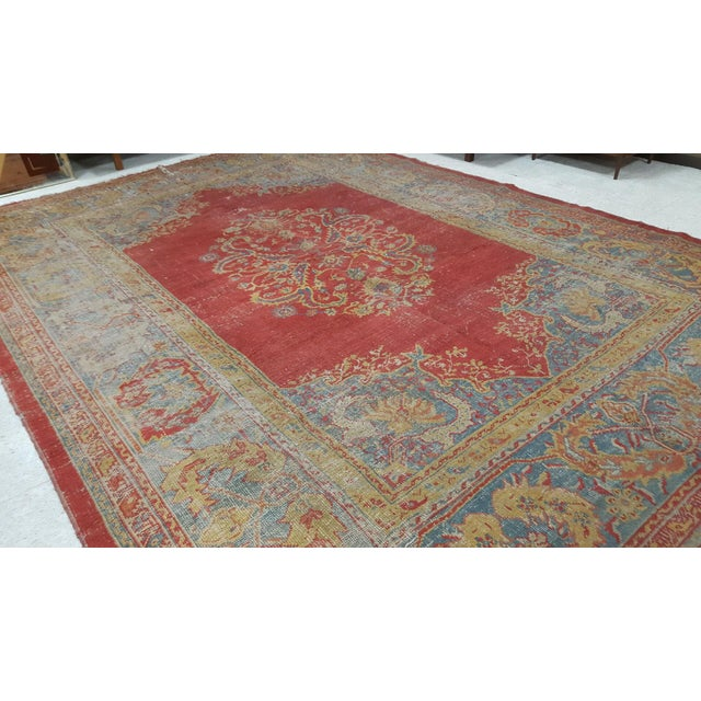 Traditional Early 19th Century Antique Turkish Oushak Rug - 9′6″ × 13′4″ For Sale - Image 3 of 12
