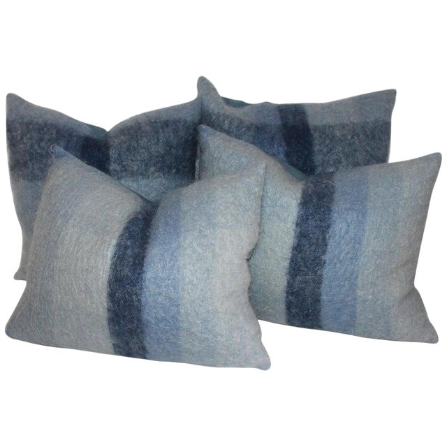 Mohair or Lambs Wool Blue Pillows - Set of 4 For Sale