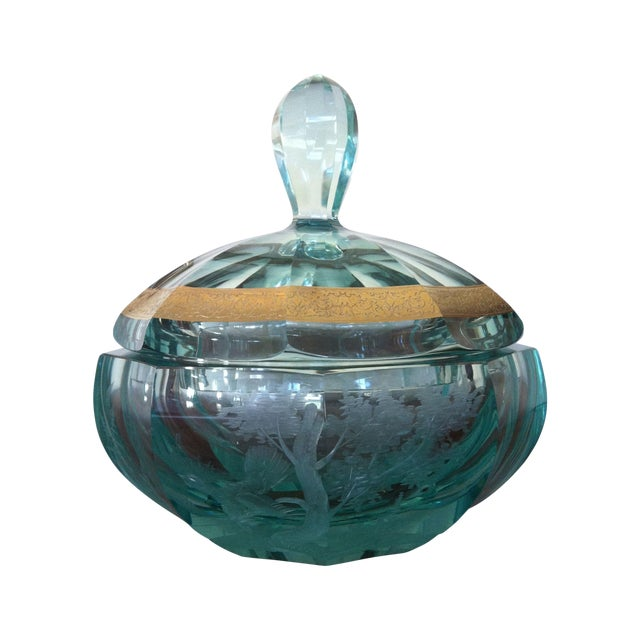 Green Moser Crystal Candy Dish, Signed - Image 1 of 7