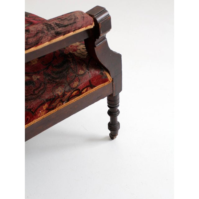 Wood Antique Upholstered Arm Chair For Sale - Image 7 of 11