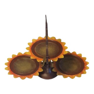 Vintage 3 Tier Metal Sunflower Folding Serving Tray For Sale