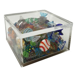Lucite Box With Vintage Murano Handblown Glass Candy - 36 Pieces For Sale