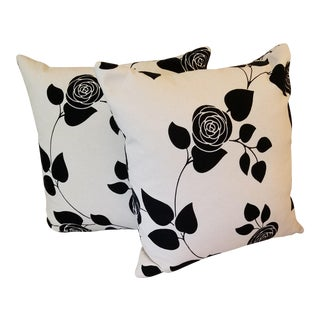 Decorative Linen Flocked Pillows - A Pair