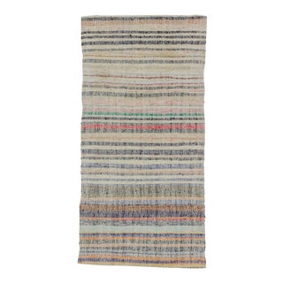 Vintage Striped Turkish Rag Rug For Sale