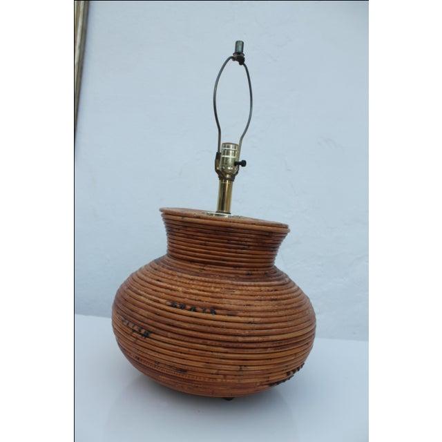 Brown Vintage Pencil Reed Jar Table Lamp For Sale - Image 8 of 9