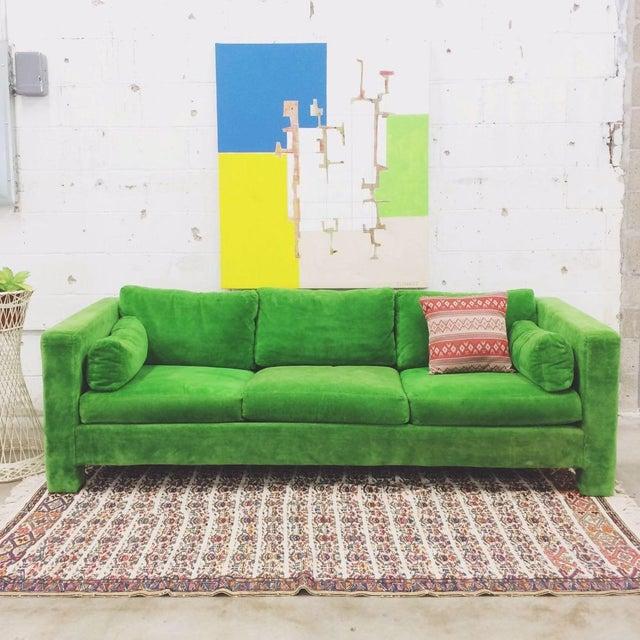 Milo Baughman Thayer Coggin Stunning Green Sofa For Sale - Image 5 of 5