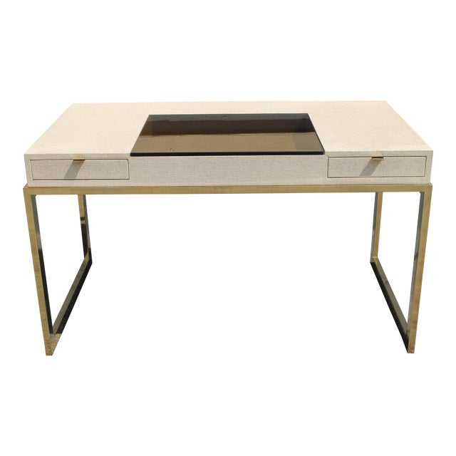 Mid Century Vintage Luxe Milo Baughman Style Writing Desk For