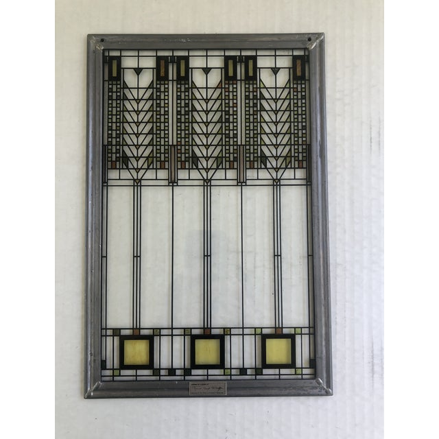 Green Frank Lloyd Wright Inspired Stained Glass Panel For Sale - Image 8 of 8