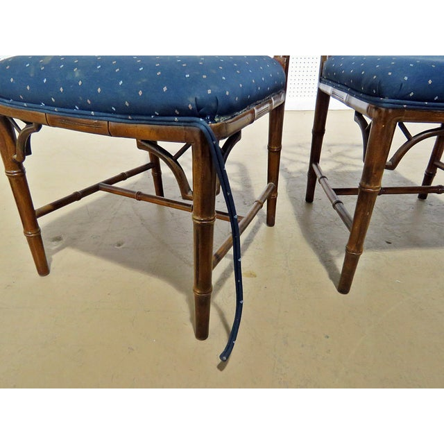 Faux Bamboo Hollywood Regency Style Faux Bamboo Dining Chairs - Set of 6 For Sale - Image 7 of 8