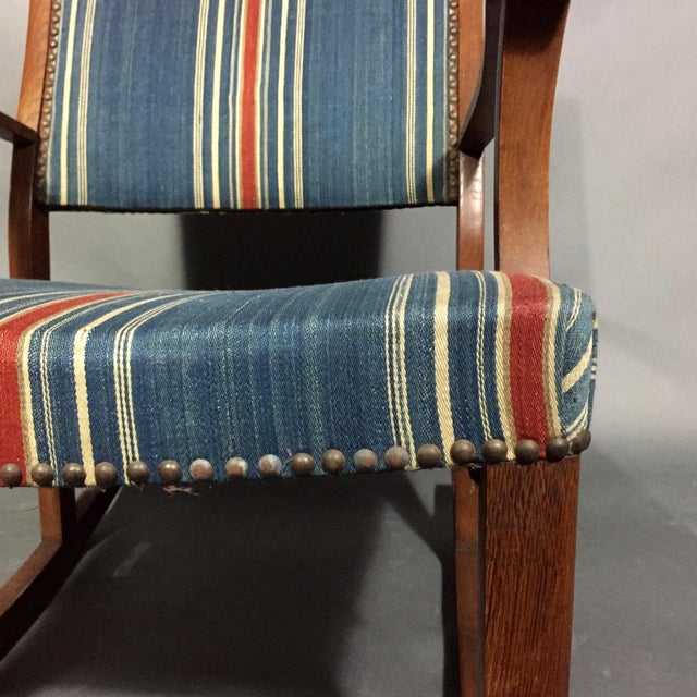 1940s 1940s Danish Rocking Chair, Oak and Wool Stripe For Sale - Image 5 of 12