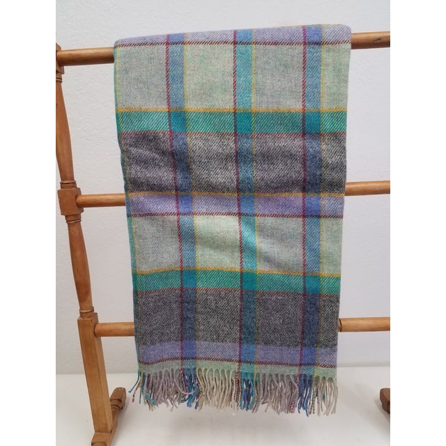 Wool Throw Blues, Yellow, Black, Red, Green and Purple in Different Sized Stripes - Made in England For Sale - Image 11 of 11