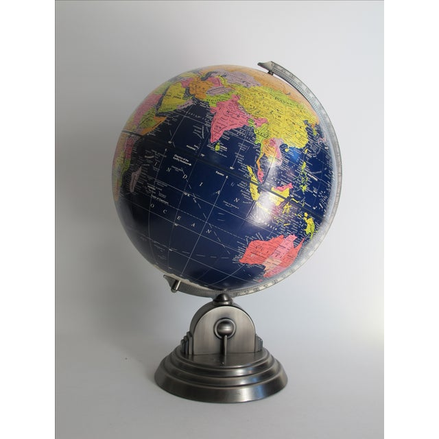 """Vintage 1980s desk globe by Globe Master. Globe is 12"""" in diameter on an Art Deco style stand."""