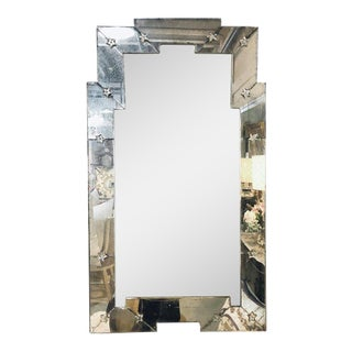 Art Deco Style Venetian Wall Console Mirror Distressed Frame Border Clear Center For Sale