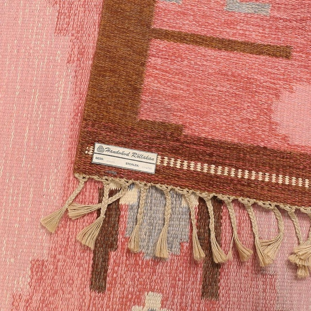 VintageIngegerd Silow Handwoven Swedish Flat Weave Rug - 5′7″ × 7′7″ For Sale - Image 5 of 5