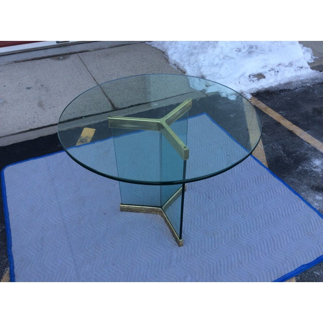 Pace Leon Rosen Glass & Brass Dining Table - Image 3 of 10
