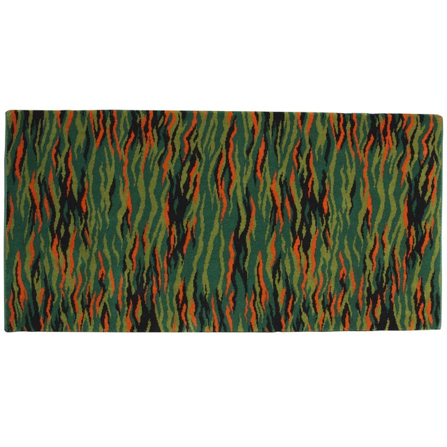 Green Mid-Century Modern Rug - 2′3″ × 4′6″ - Image 1 of 3