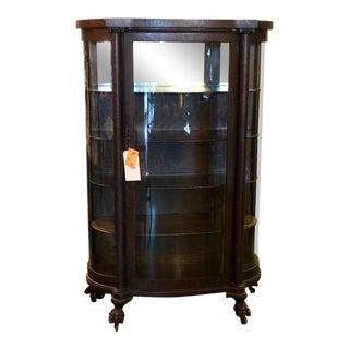 Victorian Tiger Oak Curio Cabinet For Sale