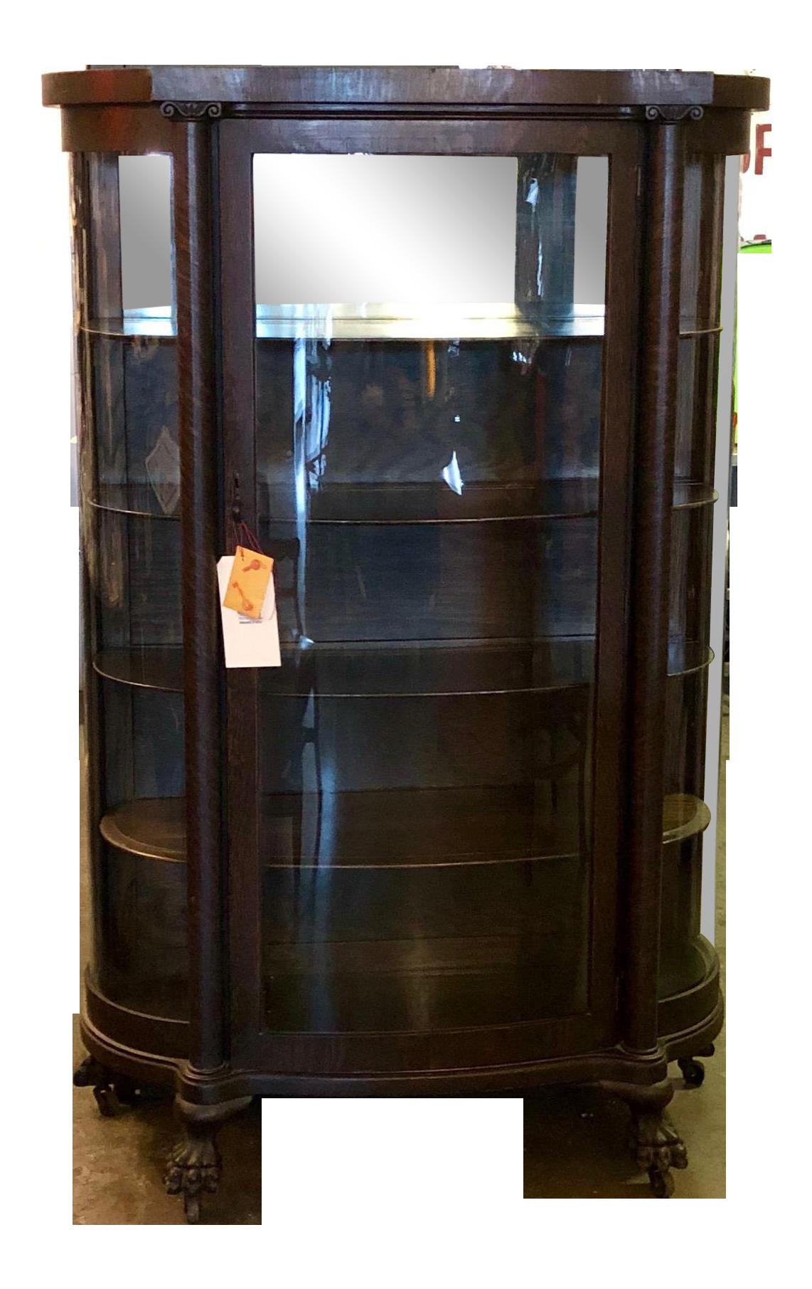 Victorian Tiger Oak Curio Cabinet