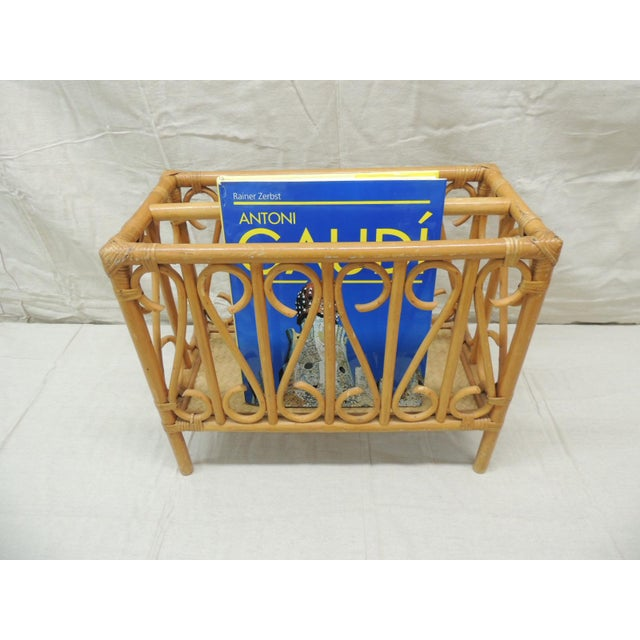 Vintage Bamboo Rectangular Shape Magazine Rack For Sale - Image 4 of 5