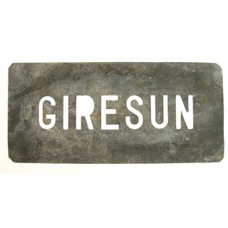 "French Vintage ""Giresun"" Zinc Stencil For Sale"