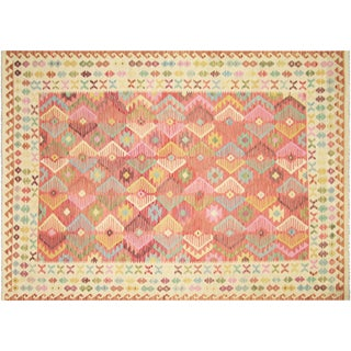 "Nalbandian - Contemporary Afghan Maimana Kilim - 6'8"" X 9'6"" For Sale"