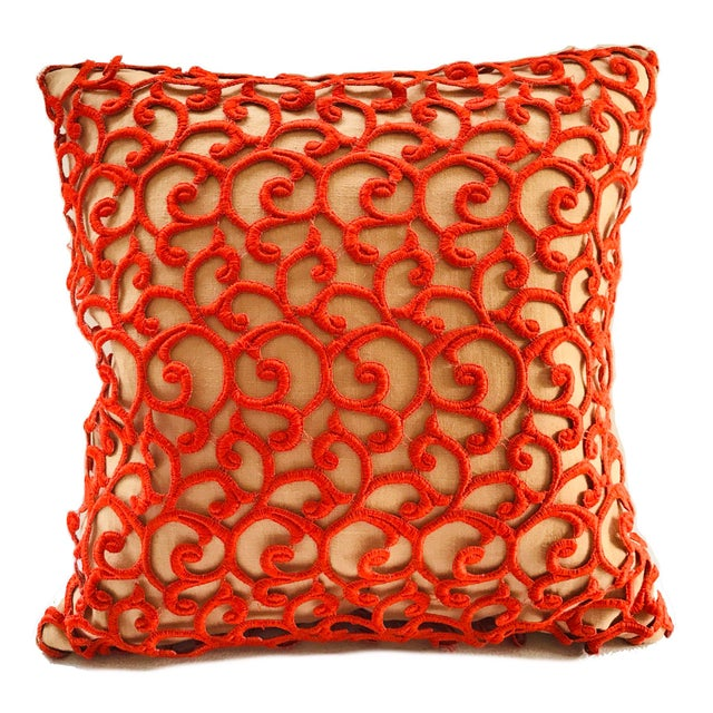 Dransfield & Ross Orange Lace Scroll on Linen Decorative Pillow For Sale - Image 13 of 13