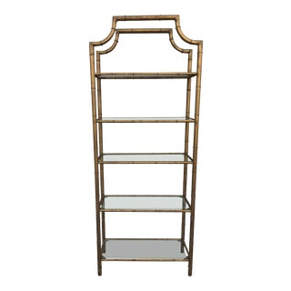 1970s Regency Faux Bamboo Pagoda Etagere For Sale