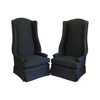 Pair of Monumental Upholstered Wing Back Chairs For Sale