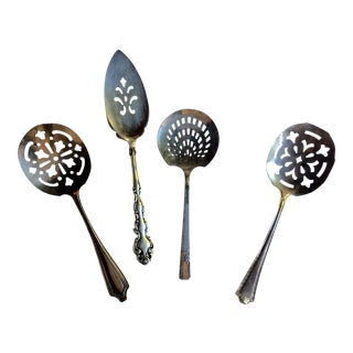 Silverplate Pierced Serving Utensils - Set of 5 For Sale