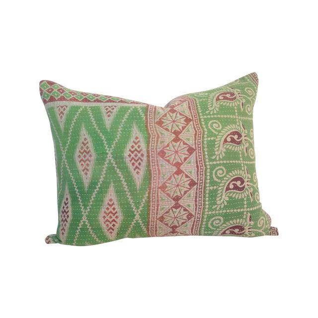 Vintage Block Printed Kantha Quilt Pillow For Sale