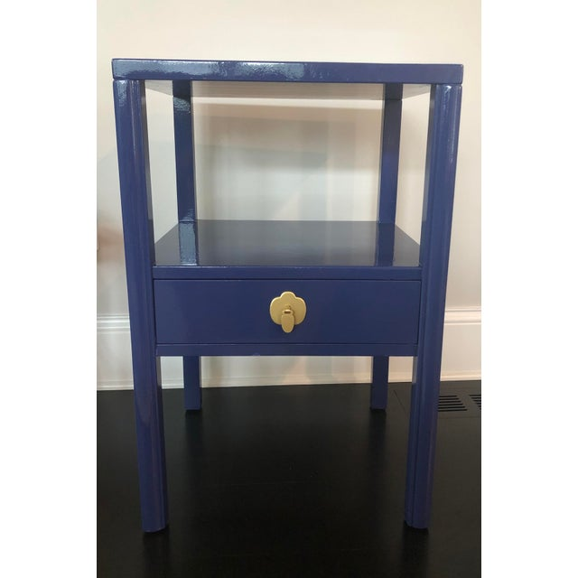 Offered is a mahogany side table from Landstrom Furniture. This piece from the 1950's has been painted a high gloss blue....