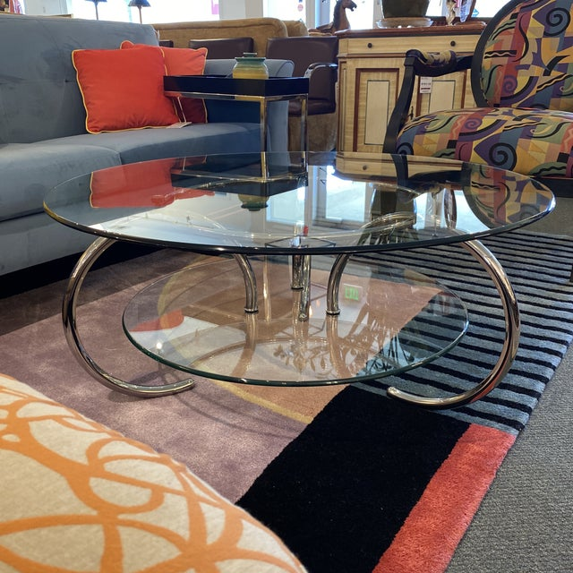 Mid 20th Century Glass & Polished Chrome Coffee Table For Sale In San Francisco - Image 6 of 12