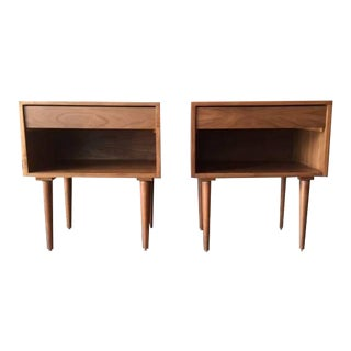 Custom Mid-Century Style Walnut Nightstands - A Pair For Sale