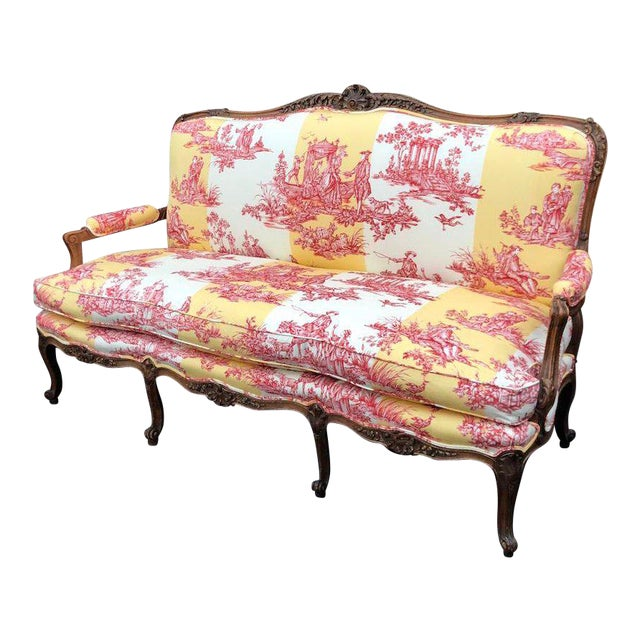 Antique Louis XV Style Carved Walnut Sofa Settee W/ Brunschwig & Fils Toile For Sale
