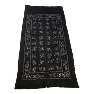 Antique Asian Ink Charcoal Cotton Batik Textile