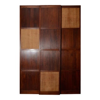 Solid Walnut Panels With Inset Grass Cloth on Wheels For Sale